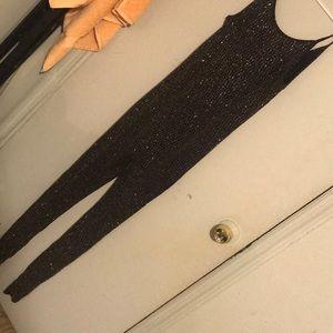 Black glitter body suit